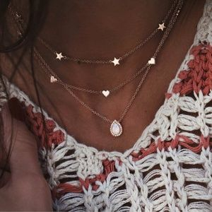 Jewelry - 4 for $25 Layered Teardrop Moon Stone Necklace